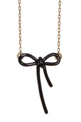 Marc Jacobs Mini Enamel Bow Pendant Necklace Black