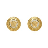 Versace Gold And Silver Small Medusa Coin Earrings