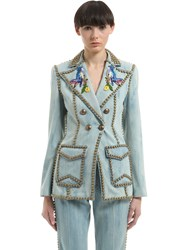 Gucci Studded And Embroidered Denim Jacket