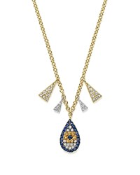 Meira T 14K White And Yellow Gold Sapphire And Diamond Evil Eye Teardrop Pendant Necklace 18 White Blue