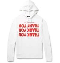Raf Simons Oversized Printed Loopback Cotton Jersey Hoodie White