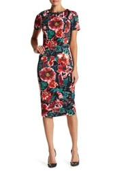 Alexia Admor Crew Neck Floral Sheath Midi Dress Multi
