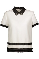 Raoul Crystal Embellished Woven Top Ivory