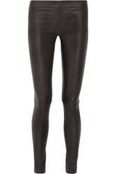 The Row Moto Stretch Leather Leggings Black