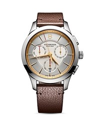 Swiss Army Alliance Watch 44Mm Silver Brown