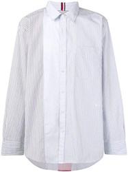 Tommy Hilfiger Contrast Panel Striped Shirt White