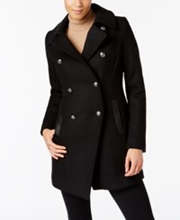 Trina Turk Leather Trim Textured Military Peacoat Black