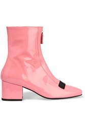 Dorateymur Double Delta Patent Leather Ankle Boots Baby Pink