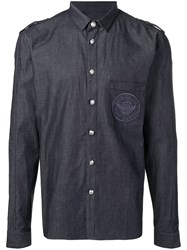 Balmain Cotton Shirt With Embroidered Medallion Blue