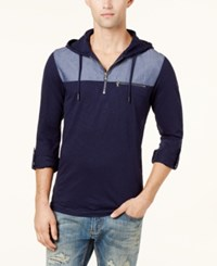 Inc International Concepts Men's Quarter Zip Hoodie Created For Macy's Basic Navy