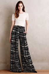 Anthropologie Crosshatch Palazzo Pants Black And White