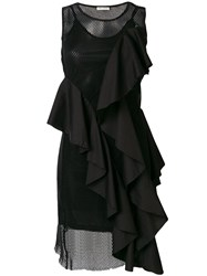 Each X Other Perforated Detail Ruffle Dress Black