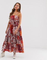 Neon Rose Tiered Maxi Cami Dress With Tie Shoulders In Patchwork Print Multi