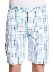 Saks Fifth Avenue Plaid Cargo Shorts White