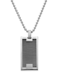 Sutton By Rhona Sutton Men's Stainless Steel Panel Dog Tag Pendant Necklace Silver