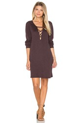 Lanston Lace Up Sweatshirt Dress Brown