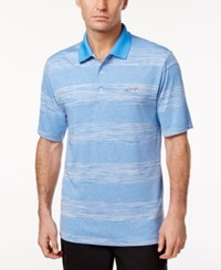Greg Norman For Tasso Elba Men's Heathered Striped Performance Sun Protection Golf Polo China Blue Opd