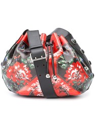Alexander Mcqueen Floral Patch Drawstring Bag Women Cotton Goat Skin One Size Red