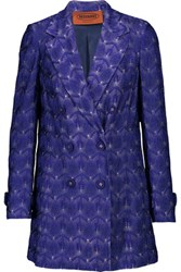 Missoni Metallic Crochet Knit Jacket Dark Purple