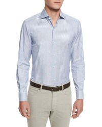Ermenegildo Zegna Striped Long Sleeve Sport Shirt Blue