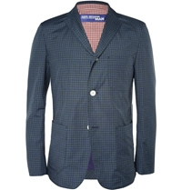 Junya Watanabe Slim Fit Lightweight Check Cotton Blazer Blue