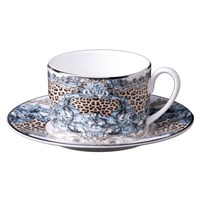 Roberto Cavalli Platinum Palazzo Pitti Teacups And Saucers Set Of 6