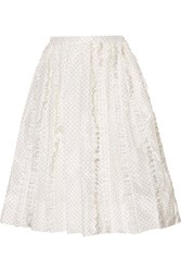 Rochas Ruffled Polka Dot Silk Twill Skirt Ivory
