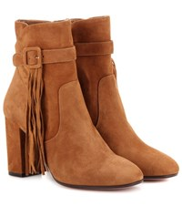 Aquazzura Christina 85 Suede Ankle Boots Brown