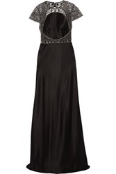 Catherine Deane Elle Embellished Tulle And Satin Gown Black