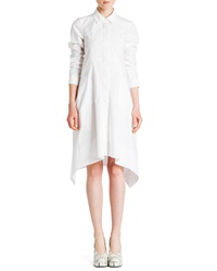 Jil Sander Long Sleeve Button Front Shirtdress White
