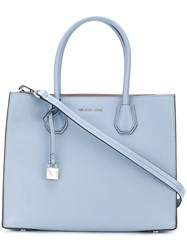 Michael Michael Kors Mercer Extra Large Tote Calf Leather Blue
