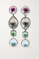 Larkspur And Hawk Sadie Rhodium Dipped Quartz Earrings Gunmetal