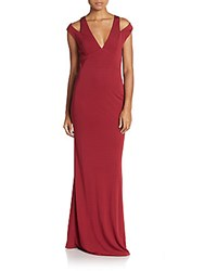 Abs By Allen Schwartz Shoulder Cutout Sheath Gown Marsala
