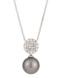 Belpearl 18K White Gold Stationary Tahitian Black Pearl Pendant Necklace W Mixed Cut Diamonds
