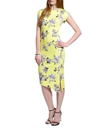 5Twelve Short Sleeve Asymmetric Floral Print Dress Yellow