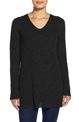 Women's Eileen Fisher V Neck Organic Linen And Cotton Tunic Black