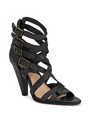 Frye Mika Leather Strappy Sandals Black