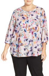 Plus Size Women's Nydj Henley Top Spring Tide Floral