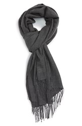 Nordstrom Women's Tissue Weight Wool And Cashmere Scarf Grey Medium Charcoal Heather