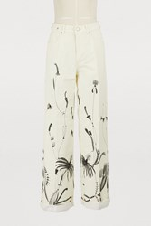 Dries Van Noten Embroidered Jeans Ecru