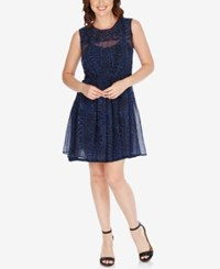 Lucky Brand Sheer Printed Fit And Flare Dress Blue Multi