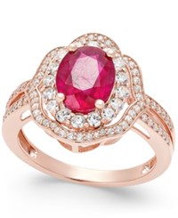 Macy's Ruby 2 1 10 Ct. T.W. And Diamond 1 2 Ct. T.W. Ring In 14K Rose Gold Red