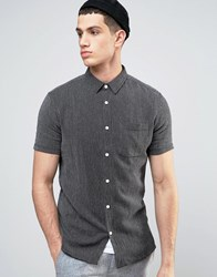 Solid Short Sleeved Knitted Shirt In Texture And Regular Fit Black