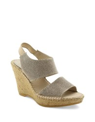 Andre Assous Reese Suede Platform Wedge Sandals Champagne