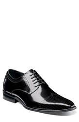 Stacy Adams Sanborn Perforated Cap Toe Derby Black Leather