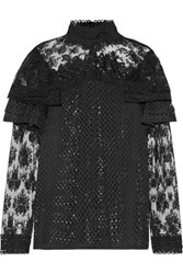 Anna Sui Ruffled Embroidered Lace Blouse Black