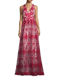 David Meister Floral Embroidered Overlay Gown Red White