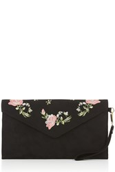 Oasis Rose Embroidered Clutch Black