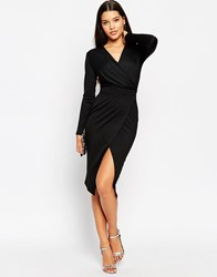 Asos Twist Drape Front Midi Pencil Dress Black
