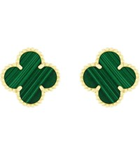 Van Cleef And Arpels Vintage Alhambra Gold Malachite Earrings Yellow Gold